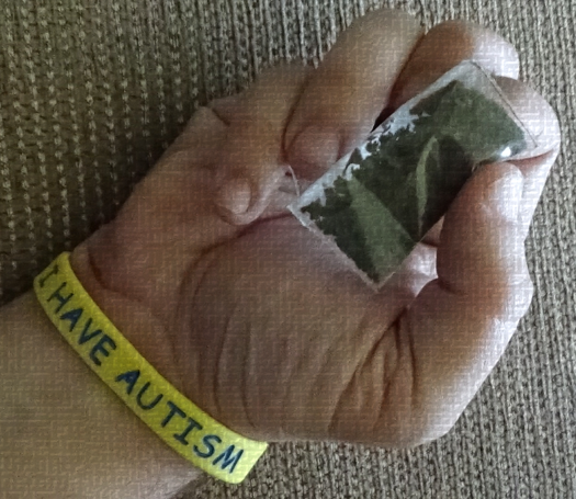 An autistic person's hand holding a bad of marijuana.