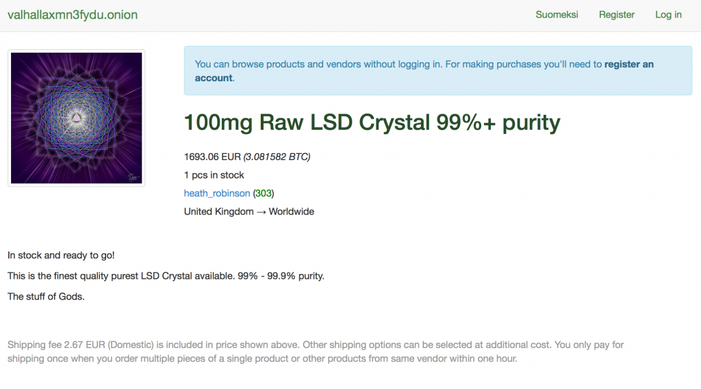 Screenshot of dark net drug market place.